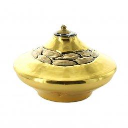 Copertina di 'Lucerna ad olio dorata con decoro - altezza 7 cm'