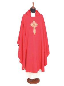 Copertina di 'Casula rossa con croce latina raggiata e cristogramma IHS ricamati a macchina'