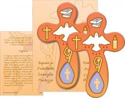 Copertina di 'Bomboniera cresima bambino/bambina: croce con preghiera in italiano (B)'