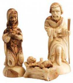 "Copertina di 'Statue in legno d'ulivo ""San Giuseppe, Maria e Gesù in culla"" - altezza 15 cm'"