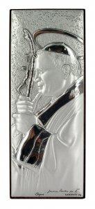 Copertina di 'Quadretto a forma rettangolare con lastra in argento 925 cm 10 x 4 - Papa Giovanni Paolo II'