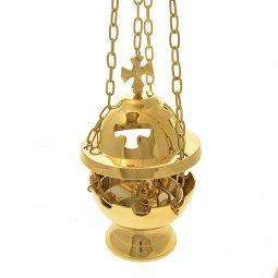 Copertina di 'Turibolo dorato con traforo a croce - altezza 15 cm'