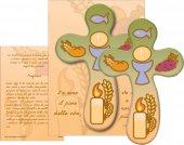 """Croce in legno stondata """"Prima Comunione"""" con preghiera - cm 13,5x8,5"""