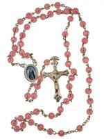 Rosario in plastica rosa + crocera Madonna