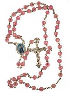 Copertina di 'Rosario in plastica rosa + crocera Madonna'