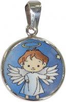 Medaglia angelo in argento 925 e porcellana - 1,8 cm
