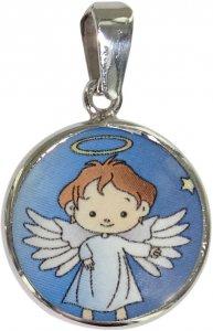 Copertina di 'Medaglia angelo in argento 925 e porcellana - 1,8 cm'