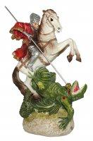 Statua di San Giorgio da 12 cm in confezione regalo con segnalibro in IT/EN/ES/FR