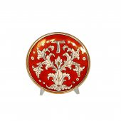 """Patena in ceramica simbolo TAU """"Modello Rubino e oro"""" - 15 cm"""