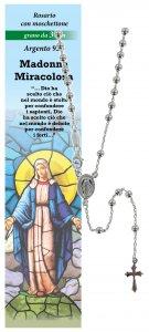 Copertina di 'Rosario Madonna Miracolosa in argento 925 con grani da Ø 3 mm e preghiera in italiano'