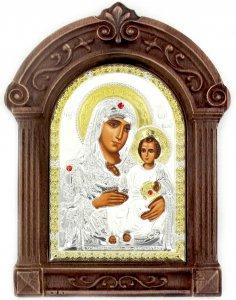 Copertina di 'Icona Madonna di Gerusalemme Greca a forma di arco con lastra in argento e cornice in legno - 24 x 16 cm'