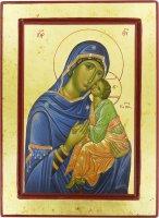 Icona Madonna della Tenerezza, produzione greca su legno - 30 x 22 cm