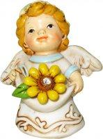 Angelo in resina con fiore giallo da 6 cm