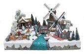 Villaggio natalizio con paesaggio olandese, movimento, luci, musica (57 x 36 x 45 cm)