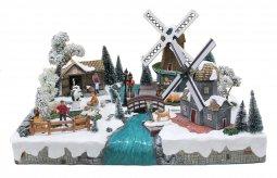 Copertina di 'Villaggio natalizio con paesaggio olandese, movimento, luci, musica (57 x 36 x 45 cm)'