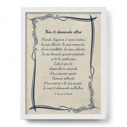 """Copertina di 'Quadro con preghiera """"Non ti domando altro"""" su cornice minimal - dimensioni 44x34 cm'"""