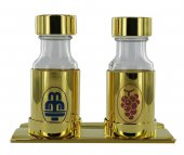 Ampolline / Bottiglie acqua e vino con vassoio oro