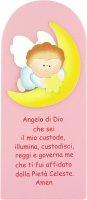 Pala Angelo su luna in legno colorato rosa cm 28x13 di  su LibreriadelSanto.it