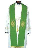 Stola ricamo croce e piume di pavone verde