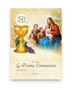 """Copertina di 'Pergamena piccola simboli """"Prima Comunione"""" - dimensioni 15x10 cm (10 pezzi)'"""