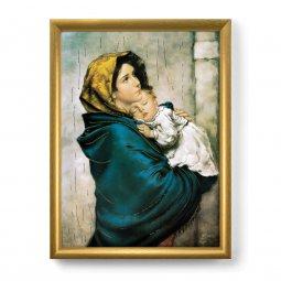 """Copertina di 'Quadro """"Madonnina"""" del Ferruzzi con lamina oro e cornice dorata'"""