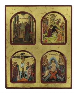 Copertina di 'Icona scene della vita di Gesù, produzione greca in legno - 22 x 18 cm'