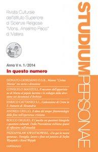 """Copertina di 'Studium Personae 1/2014. Rivista Culturale dell'Istituto di Scienze Religiose """"Mons. Anselmo Pecci"""" di Matera'"""