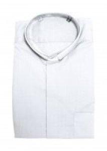 Copertina di 'Camicia clergyman bianca manica lunga 100% cotone - collo 44'