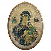 """Icona ovale laccata oro """"Madonna del Perpetuo Soccorso"""" - dimensioni 21,5x16 cm"""