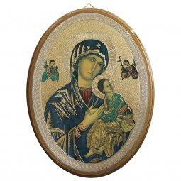 """Copertina di 'Icona ovale laccata oro """"Madonna del Perpetuo Soccorso"""" - dimensioni 21,5x16 cm'"""