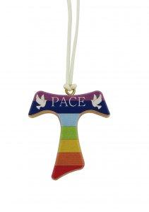 Copertina di 'Croce Tau in legno di ulivo dipinta con colori arcobaleno - 4 cm'