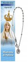 Bracciale rosario Madonna di Fatima in argento con 11 grani da 2,5 mm