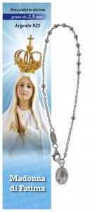 Copertina di 'Bracciale rosario Madonna di Fatima in argento con 11 grani da 2,5 mm'